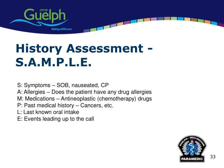 History Assessment -S.A.M.P.L.E.