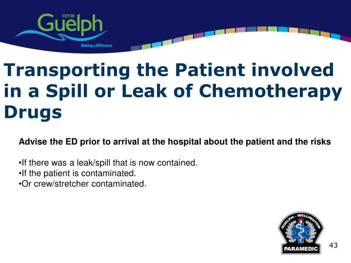 Transporting the Patient involved in a Spill or Leak of Chemotherapy Drugs