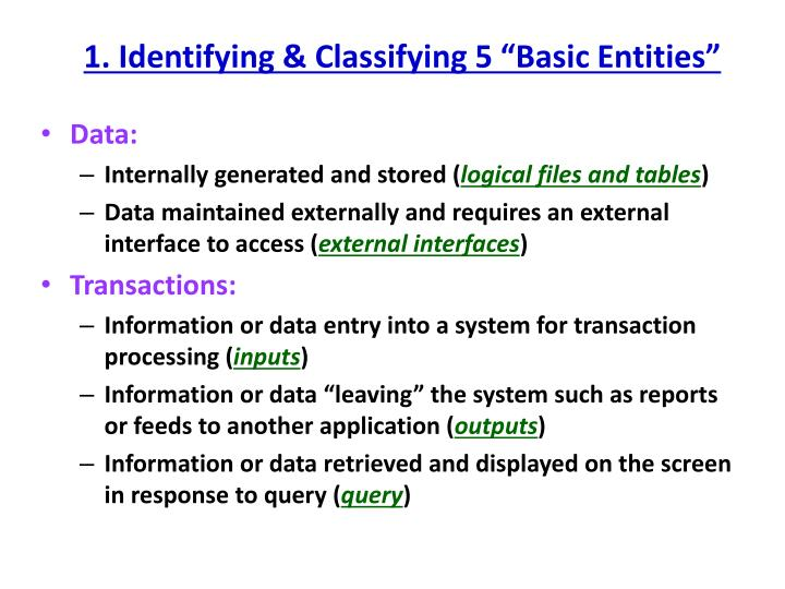 1 identifying classifying 5 basic entities