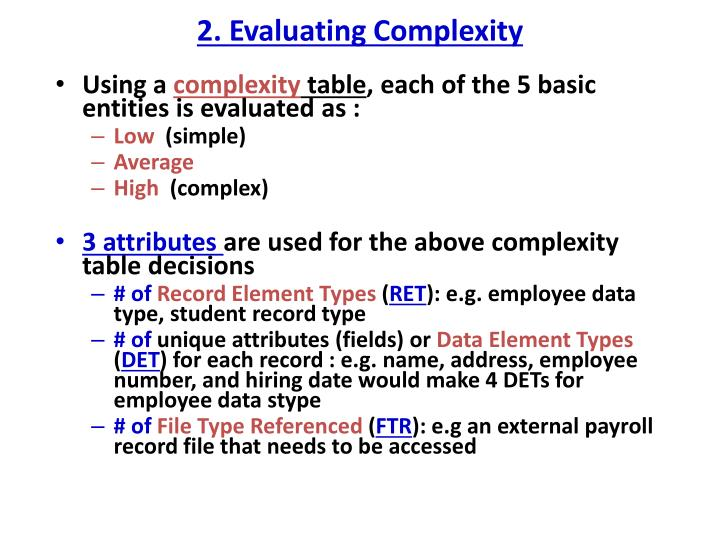 2. Evaluating Complexity