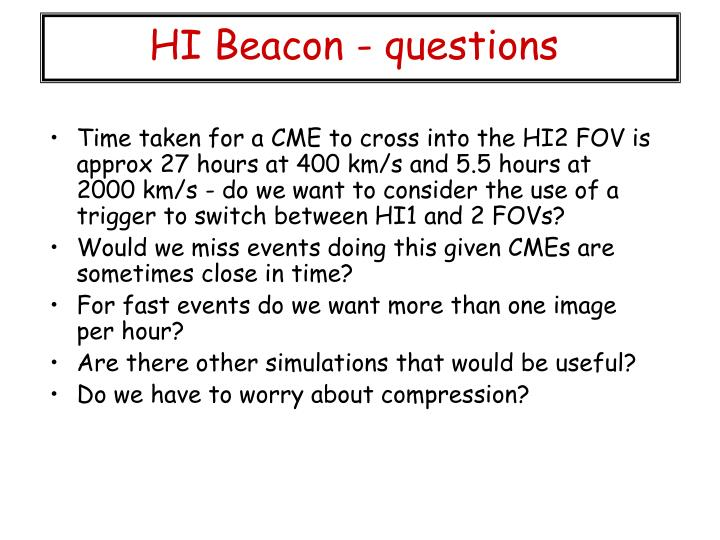 HI Beacon - questions