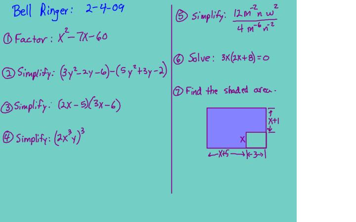 Alg1 8 4 factoring as 2 bx c quiz wk5