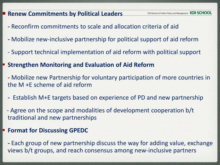Renew Commitments by Political Leaders
