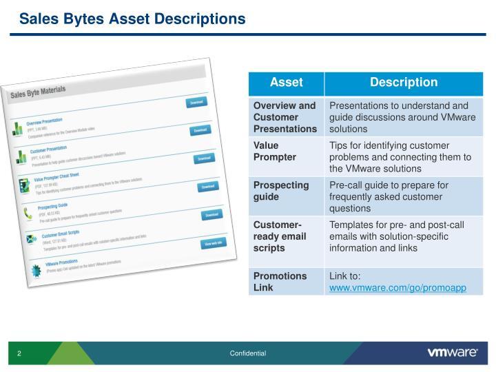 Sales Bytes Asset Descriptions