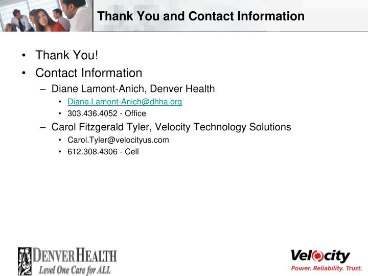 Thank You and Contact Information