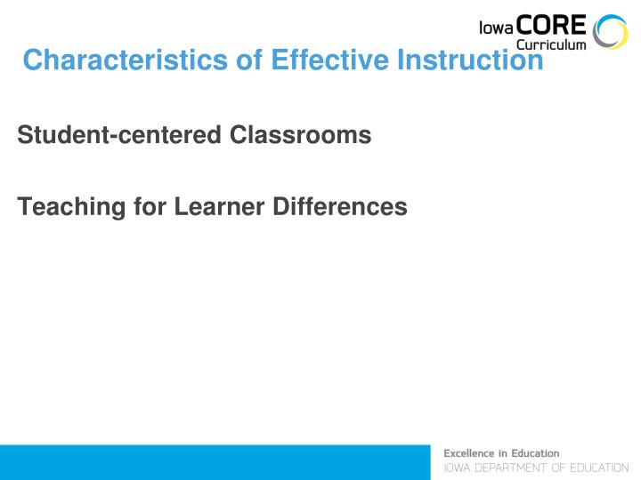 Characteristics of Effective Instruction