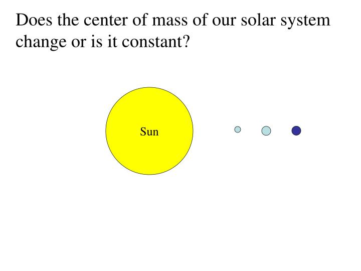 Does the center of mass of our solar system change or is it constant?