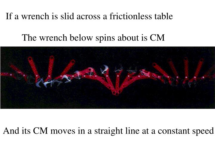 If a wrench is slid across a frictionless table