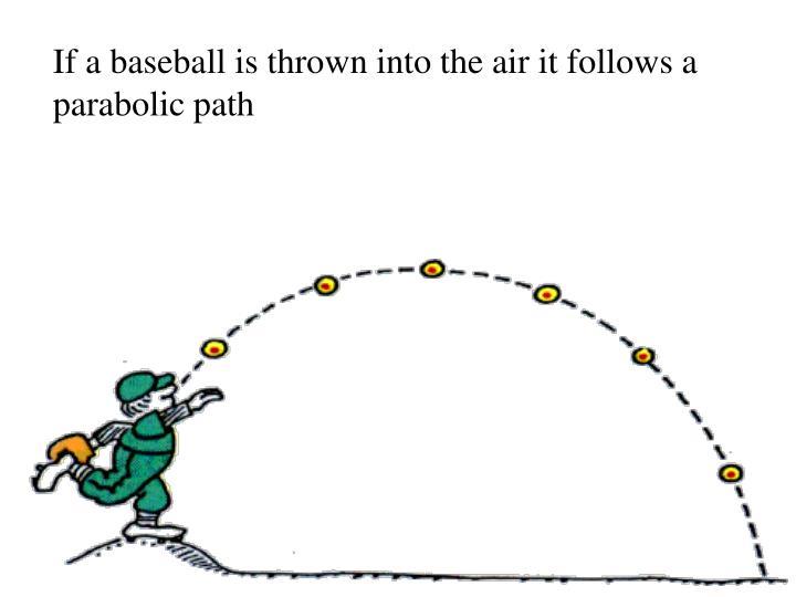 If a baseball is thrown into the air it follows a parabolic path