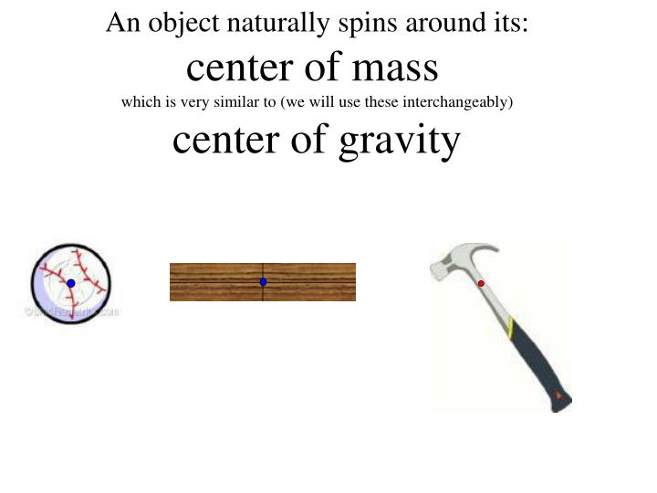 An object naturally spins around its: