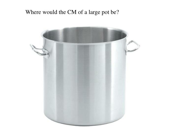 Where would the CM of a large pot be?