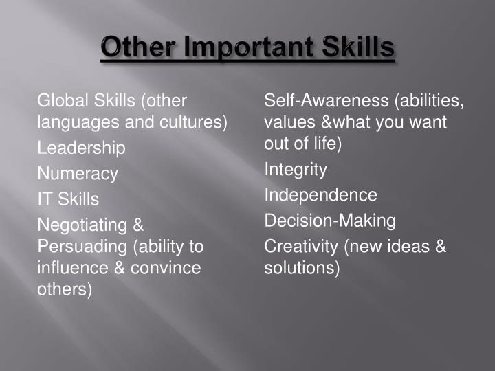 Other Important Skills