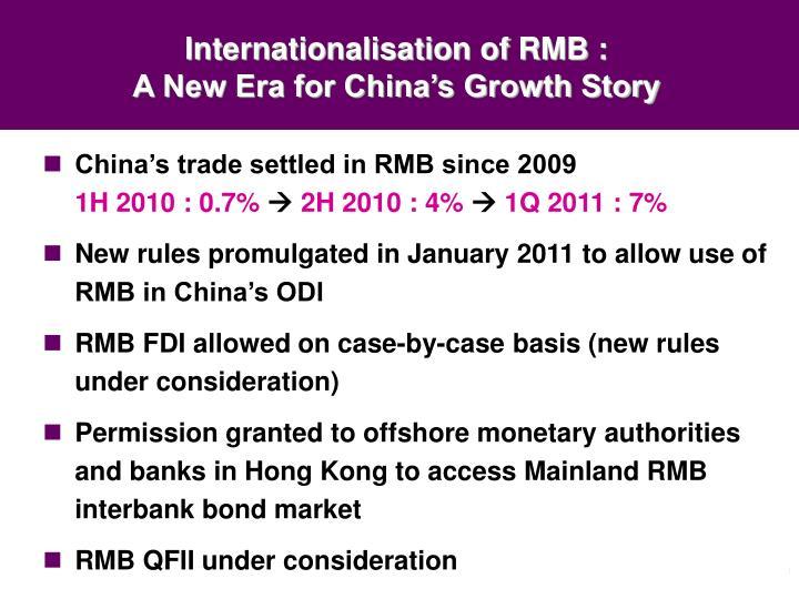 Internationalisation of RMB :