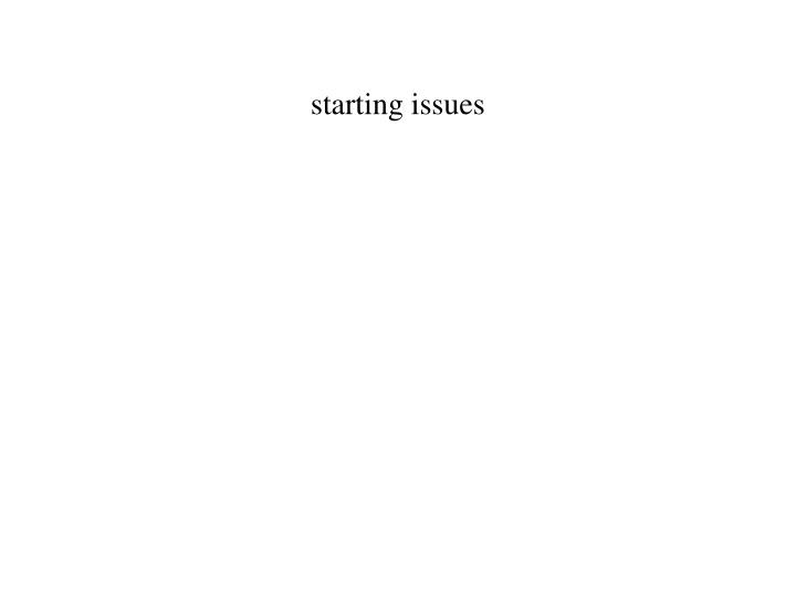 starting issues