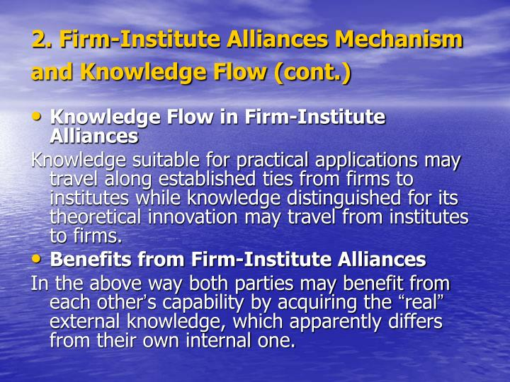 2. Firm-Institute Alliances Mechanism and Knowledge Flow (cont.)