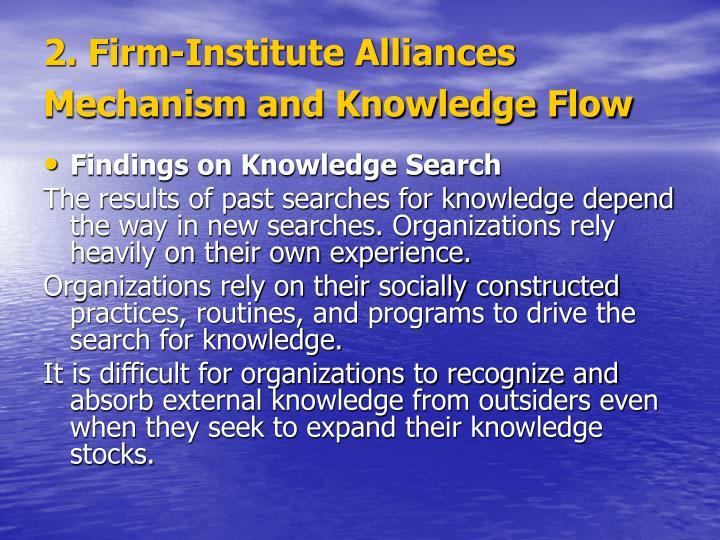 2. Firm-Institute Alliances Mechanism and Knowledge Flow