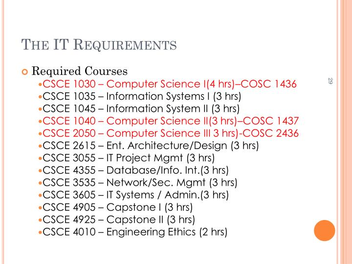 The IT Requirements