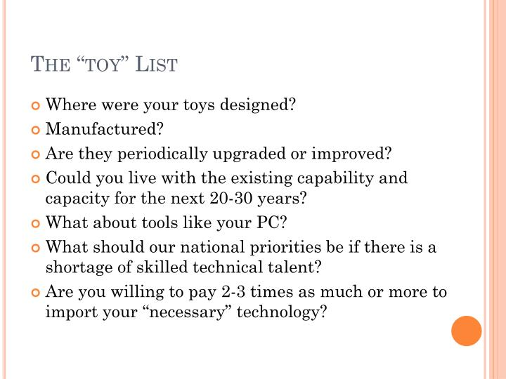 "The ""toy"" List"