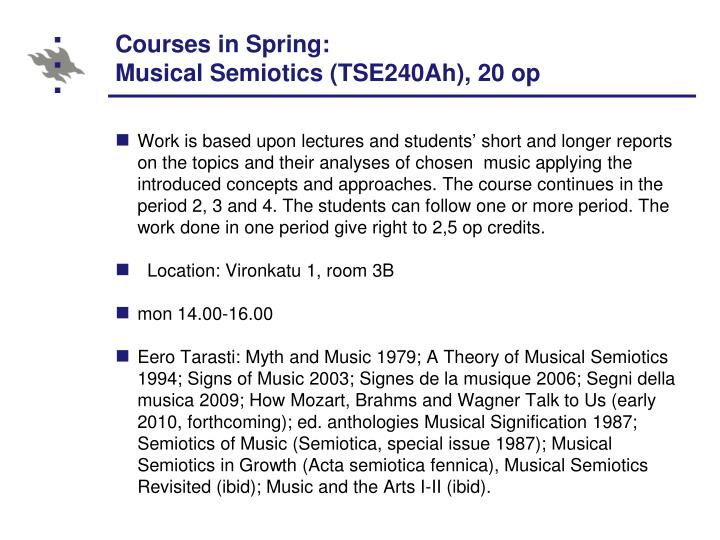 Courses in Spring: