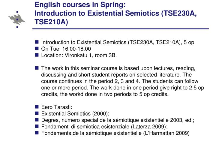 English courses in Spring: