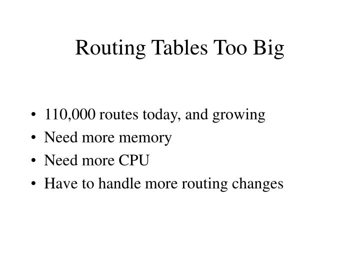 Routing Tables Too Big