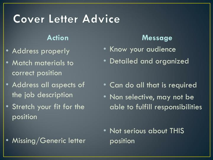Cover Letter Advice