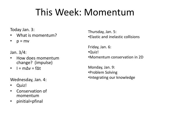 This Week: Momentum