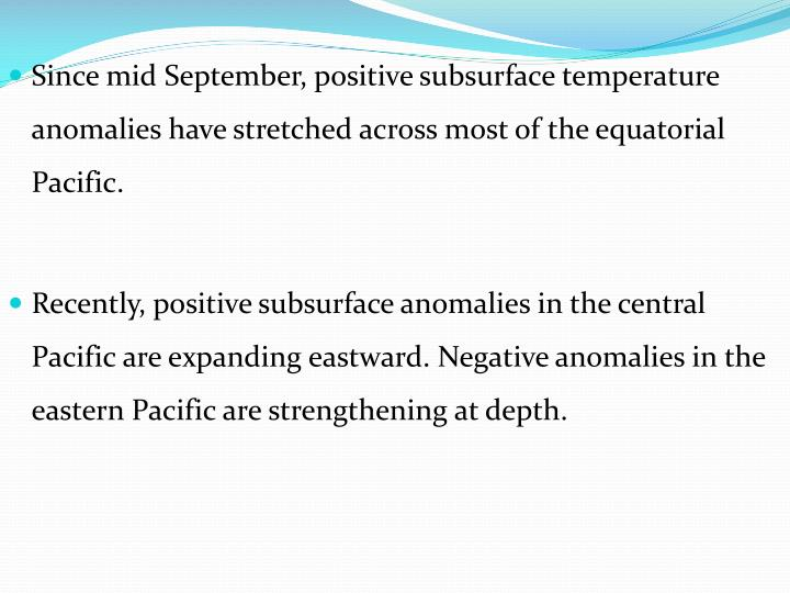 Since mid September, positive subsurface temperature anomalies have stretched across most of the equatorial Pacific.