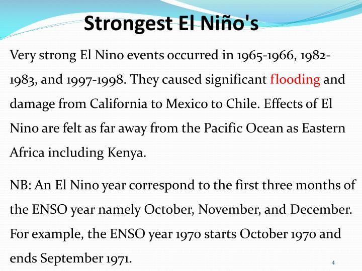 Strongest El Niño's