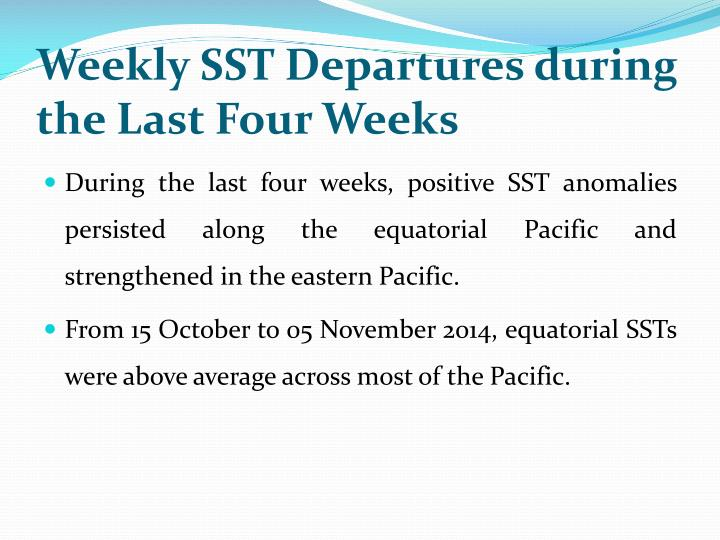 Weekly SST Departures during the Last Four Weeks