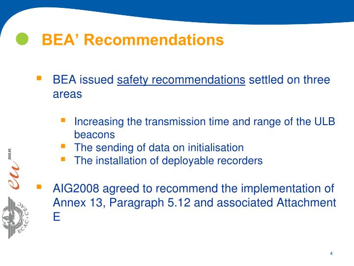 BEA' Recommendations