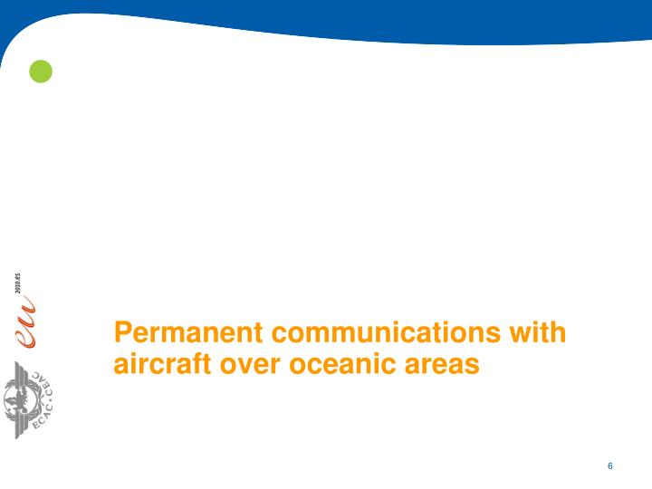 Permanent communications with aircraft over oceanic areas