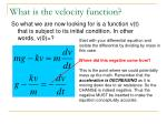 what is the velocity function2