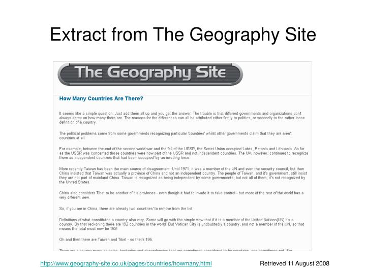 Extract from The Geography Site