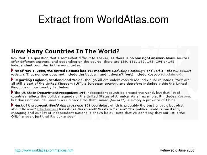 Extract from WorldAtlas.com