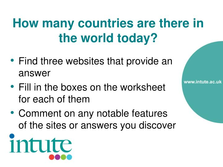 How many countries are there in the world today