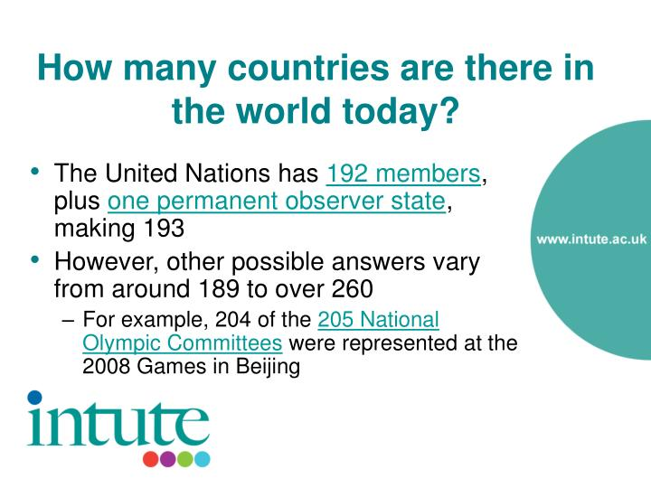 How many countries are there in the world today1