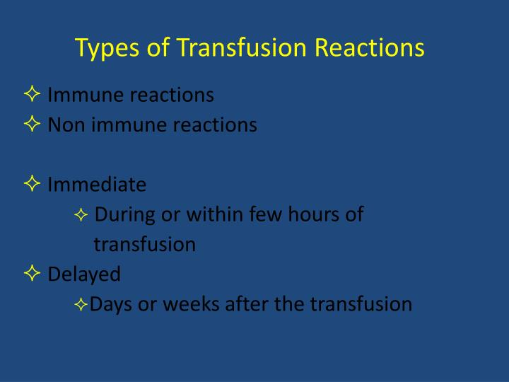 Types of Transfusion Reactions