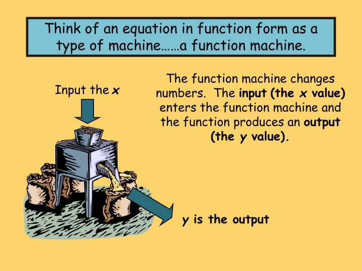 Think of an equation in function form as a type of machine……a function machine.