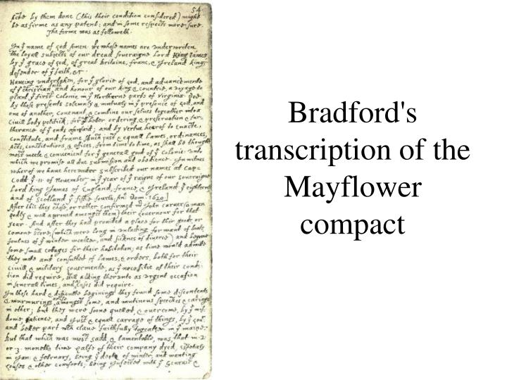 Bradford's transcription of the Mayflower compact