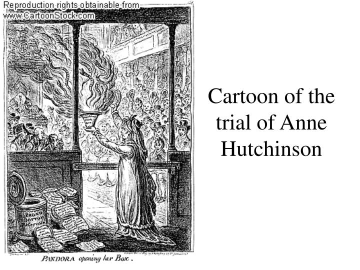 Cartoon of the trial of Anne Hutchinson