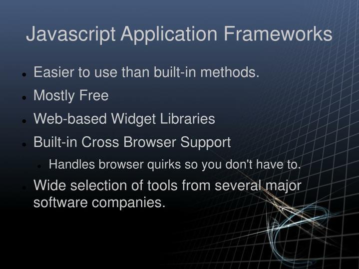 Javascript Application Frameworks