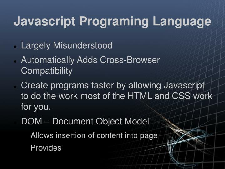 Javascript Programing Language