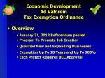economic development ad valorem tax exemption ordinance