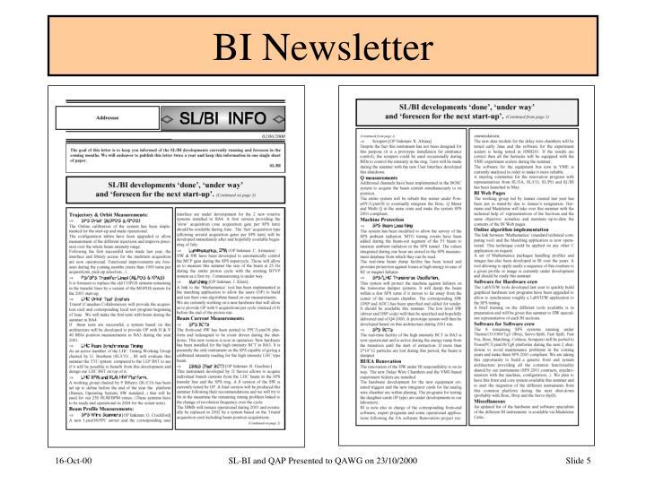 BI Newsletter