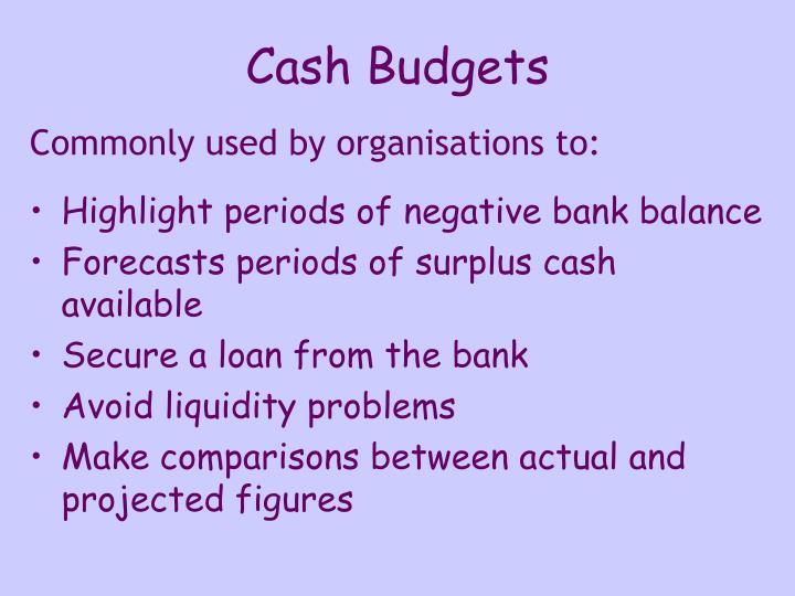 Cash Budgets