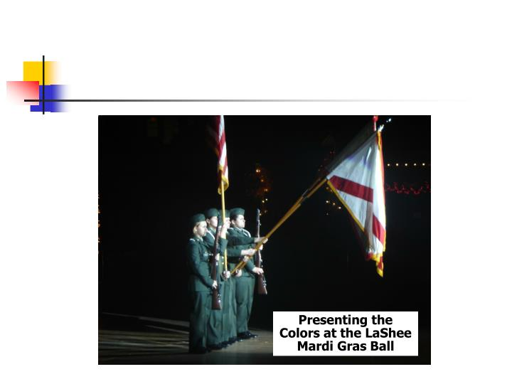 Presenting the Colors at the LaShee Mardi Gras Ball
