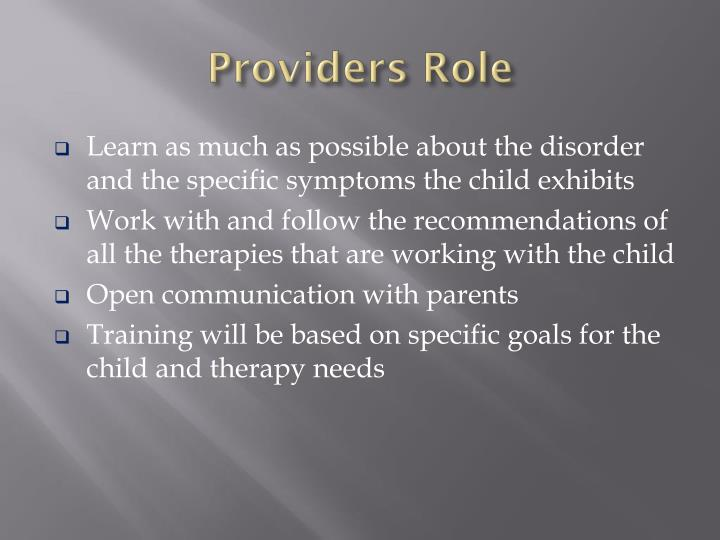 Providers Role