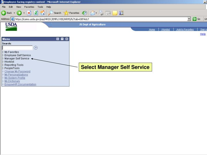 Select Manager Self Service