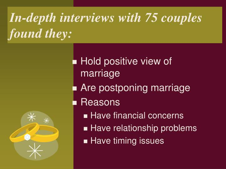 In-depth interviews with 75 couples found they: